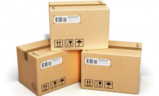 Lochrrand Etiketten auf Karton, Vellum logistic