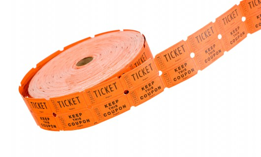 reel of tickets on white background